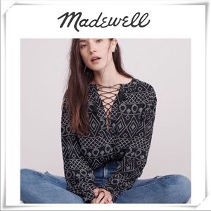 Madewell Lace Up Peasant Blouse in caravan print